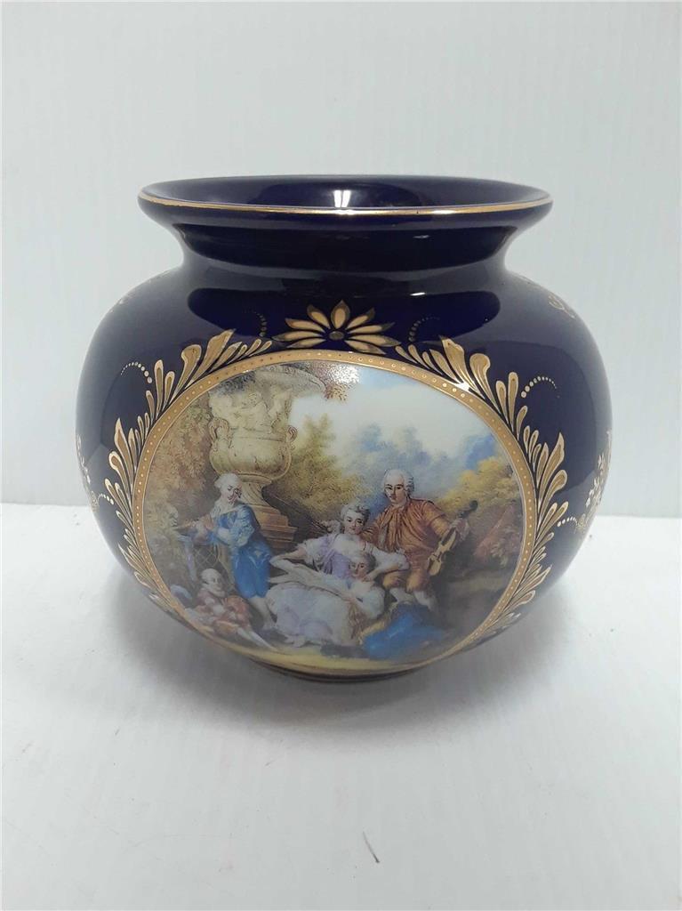 Bleu de Cobalt Limoges de Style Vase Short Rond 5
