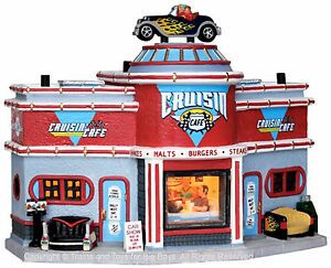 Lemax 25406 CRUISIN' CAFE Jukebox Junction Christmas Village Building '50s S O I