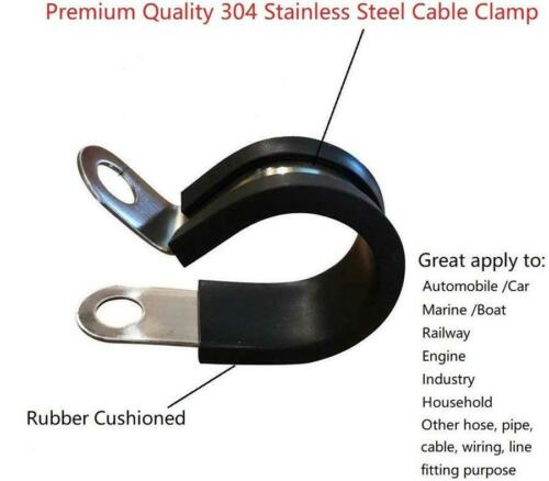 40Pcs 1Inch Stainless Steel Cable Clamp Rubber Cushioned Metal Insulated Clamp