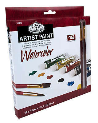 ROYAL LANGNICKEL 18pc Watercolor PAINT TUBE Colors BONUS 2 Painting Brushes NEW