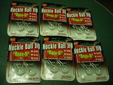 """6 PACKS of 2 Fin-Tech Nuckle-Ball Jigs 3/32oz """"BASS-N"""" MODEL NBD-015 WHITE LAZER"""