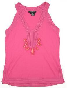 ETCETERA-Hot-Pink-Beaded-Knit-Trim-Tank-Size-Medium-MINT