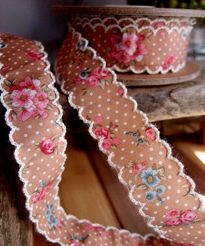 Choose 10-yard 1-inch FancySupply Vintage Floral Scalloped Ribbon