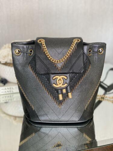 Chanel Chevron Backpack Metallic Calfskin RARE