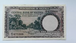 Banknote-Nigeria-5-Shillings-1958-VF-Condition-Collectable