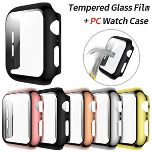 Apple Watch Tempered Glass Screen Protector Case Cover For Series 6 5 4 3 2 1 SE