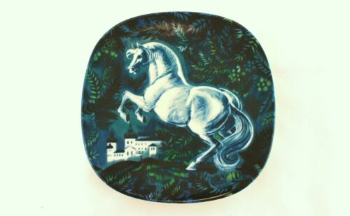 A 1970's Rorstrand white horse wall plate Swedish design 1977