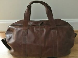Details About Fossil Brown Leather Transit Duffle Weekender Bag Large 21 X12 398