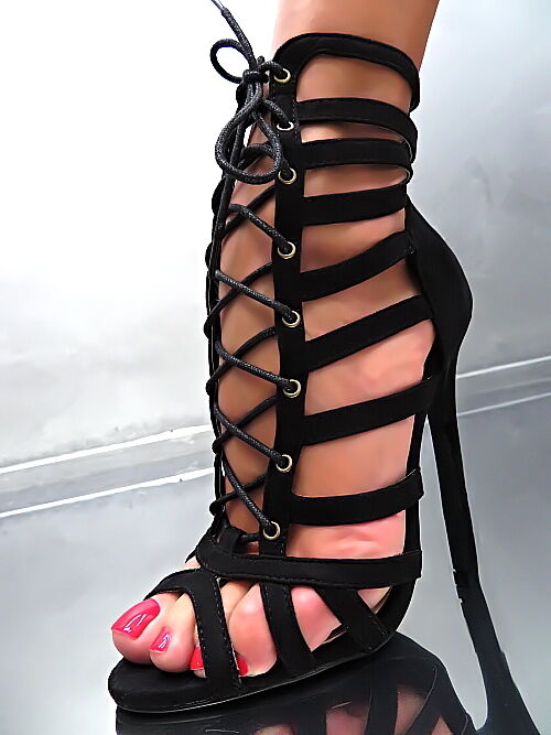 HOHE Fashion Stiefel Damen N80 Sandalen Pumps Schuhe Schwarz High Heels 37