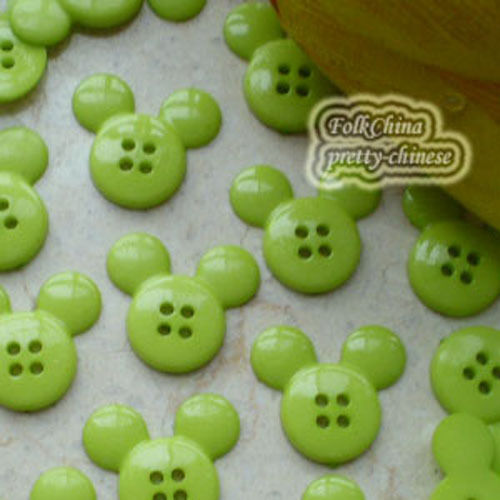 Green  Mickey Shape 20mm Plastic Buttons Sewing Scrapbooking Collectable Craft