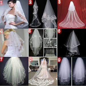 New-White-Ivory-2T-3T-Pearls-Bridal-Wedding-Veil-Comb-Cathedral-Elbow-Length