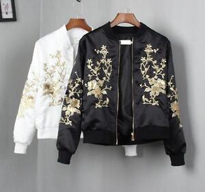 Women-039-s-Fashion-Designer-Satin-Floral-Embroidery-Coat-Bomber-Jacket