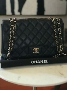 cf812f4f4d85 Image is loading Chanel-Classic-Flap-Jumbo-Caviar-Black-Leather