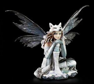 Elfen Figur - Lupa im Eis - Fee Wolf Pelz Winter Eis Fantasy sitzend Deko