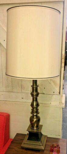 "MCM ORIGINAL STIFFEL 38/"" TALL BRASS LAMP w// SHADE MID CENTURY MODERN"