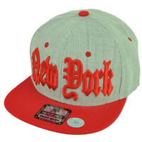 York City Nyc Big Apple Snapback Flat Bill Brim Hat Cap Heather Gray Red
