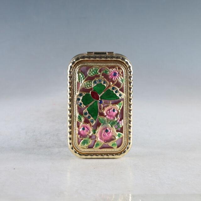 Exquisite Chinese Cloisonne Handmade Butterfly & Flower  Mirror JZ2022.d