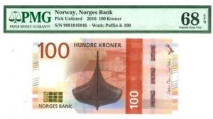 NORWAY 100 KRONER 2016 NORGES BANK PMG SUPERB GEM UNC PICK UNLISTED VALUE $680