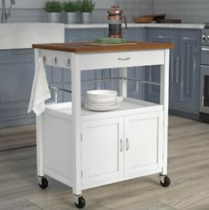 Details about Kitchen Island Small Cart White Brown Storage Portable  Rolling Drawer Cabinet