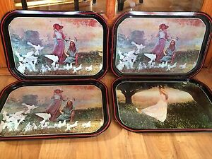 Set-Of-4-Vintage-Metal-Girls-By-Doves-amp-Girl-Swinging-On-A-Branch-Lap-TV-Trays