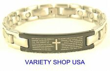 'The Serenity Prayer' Stainless Steel Magnetic Religious Bracelet 8.75""