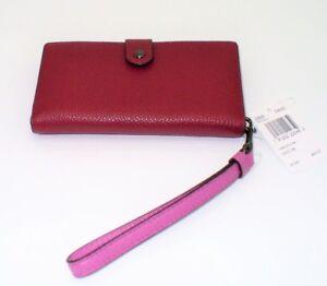 f5ef333fe22 NWT Coach Handbag Wallet Wristlet For Phone 23528 Wine Pink Leather ...