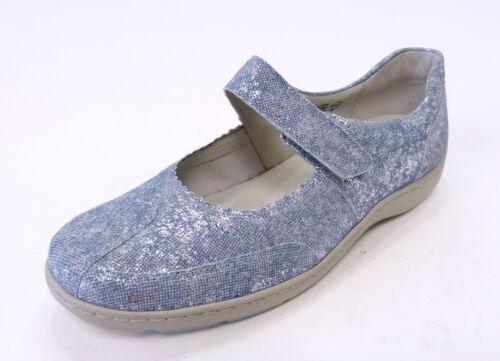 Waldläufer Ballerina Henni jeans blau 496302 179206 Klette Leder Einlage Weite H