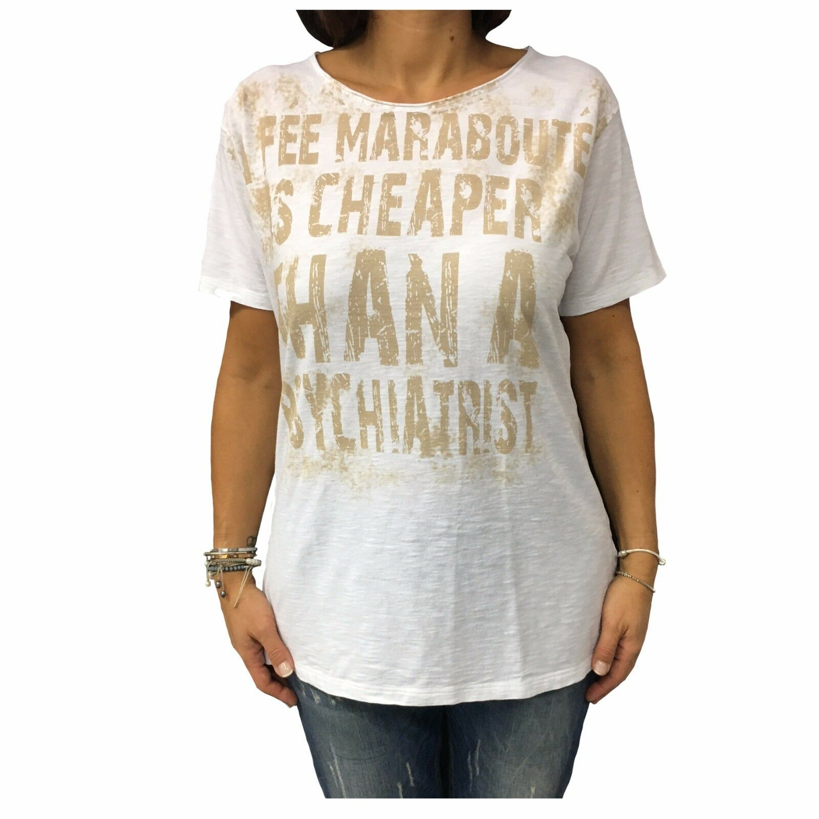 La Fee Maraboutee T-Shirt Manches Courtes Blanc Coton 7559 Made IN