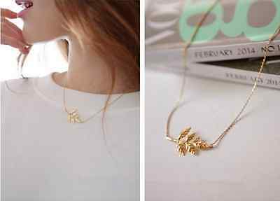 New Korean Fashion Statement Gold Leaves Charm Chain Pendant Celebrity Necklace