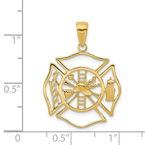 14k Yellow Gold Firefighter Shield Charm Pendant 1.14 Inch