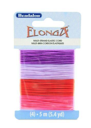 Beadalon Elonga Multi-Strand Elastic Cord ~ Lilac Purple Red /& Pink 0.7mm