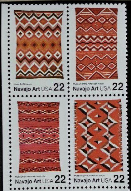 1986 22c Navajo Art, Block of 4 Scott 2235-38 Mint F/VF