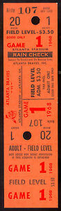 1968 APRIL 10 FULL nm TICKET game 1 $3.50 CARDINALS VS ATLANTA BRAVES Hank Aaron