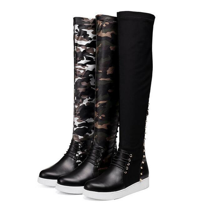 Elegant Camouflage Women Knee High Boots Punk Rivets Wedge Hidden Heel Shoe R499