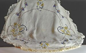 ANTIQUE-ROUND-LINEN-TABLECLOTH-ARTS-amp-CRAFTS-PERIOD-UU164