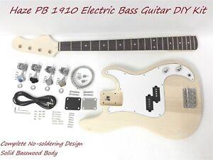 Haze HSPB 1910 No-Soldering Design 4-String Electric Bass Guitar DIY,Solid Body