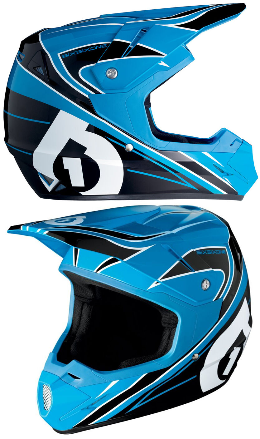 661 SIXSIXONE Comp MX motocross casque black   Cyan blue Enduro Vélo Nouveau
