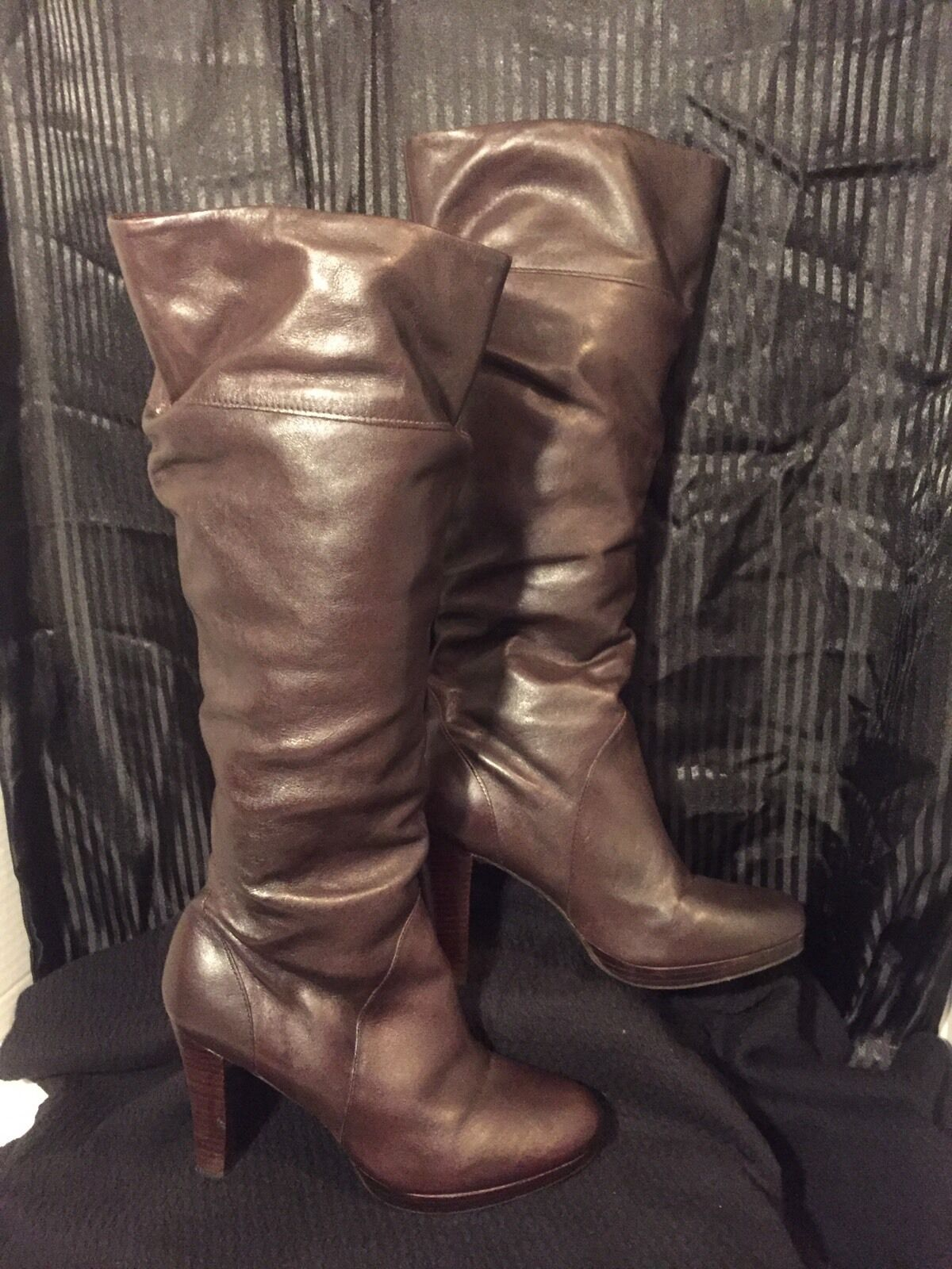 Brown Calf Length Boots Womens Size 7 M