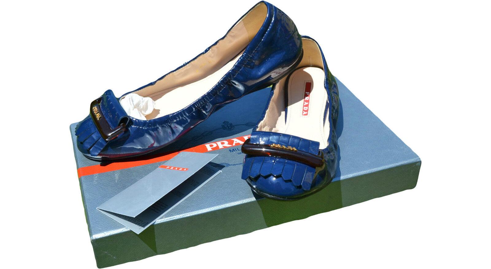 Prada nuevo para mujer Charol Mojado Azul Azul Azul Zapatos Planos Bailarina Talla 36.5 Reino Unido 3.5  ofrecemos varias marcas famosas