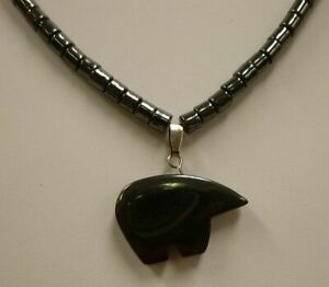 Natural-Hematite-Necklace-w-Pendant-18-034-ZUNI-BEAR-NEW-spirit-animal-protection