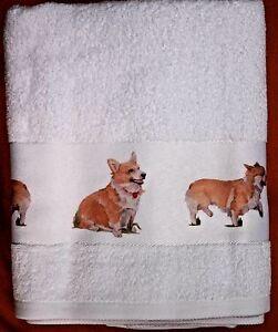 CORGI-DOG-QUALITY-COTTON-HAND-GUEST-TOWEL-SANDRA-COEN-ARTIST-WATERCOLOUR-PRINT