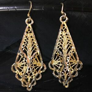 LONG-VINTAGE-ESTATE-STERLING-SILVER-VERMEIL-DIAMOND-CUT-DANGLE-EARRINGS-2-1-16