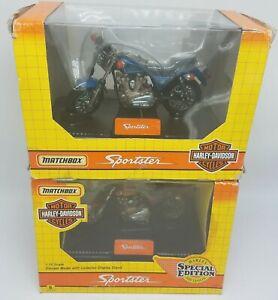 Lot-of-2-1993-Matchbox-Harley-Davidson-Sportster-Motorcycles-1-15-Red-amp-Blue
