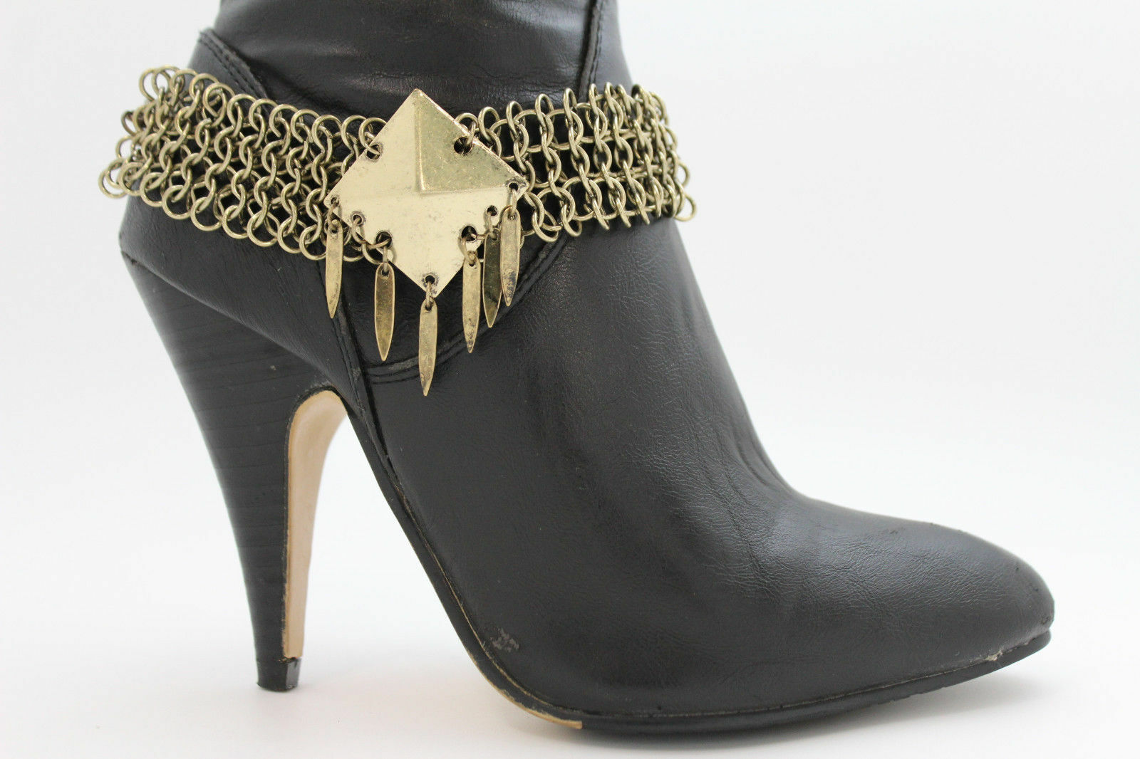 Women Fashion Jewelry Boot Bracelet Antique Gold Metal Chains Anklet Shoe Charm