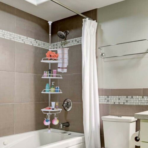 Tension Corner Shower Caddy Adjustable 4 Tier Rustproof  Shower Caddies