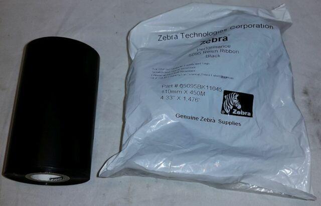 "Zebra 5095 Resin Ribbon 4.33"" x 1,476' Thermal Ribbons 05095BK11045 2 Rolls"