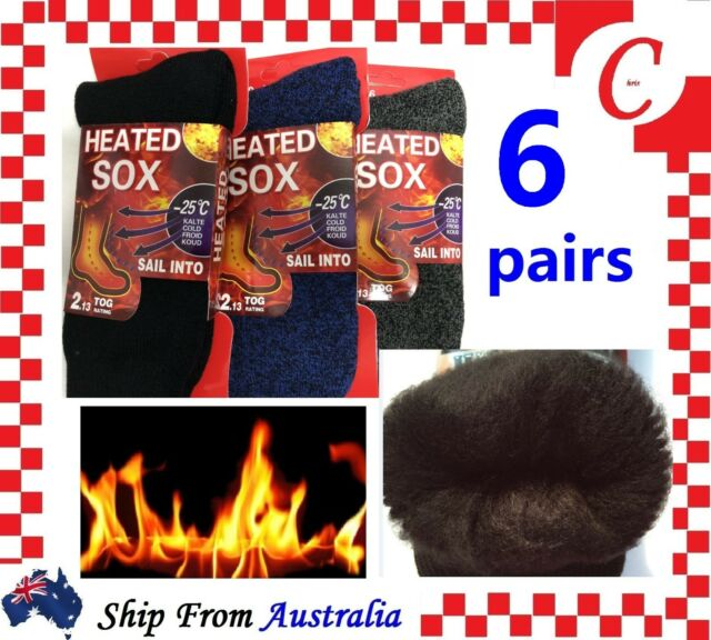 6Pairs MEN'S Thick Winter Warm Thermal HEATED Heat Cushion WORK SOCKS Fur Lined