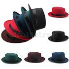 Men Women Wool Felt Round Fedora Cap Crushable Porkpie Vintage Short Brim Hat