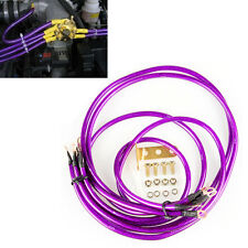 Car/Truck Battery Electronic Copper Ground/Earth Wire Cable System Kit Purple