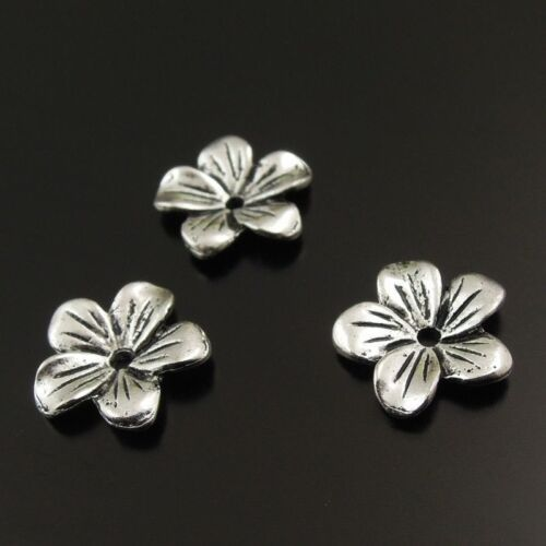 80pcs Antiqued Silver Tone Vintage Alloy Flower Shape Beads Cap Jewelry Making